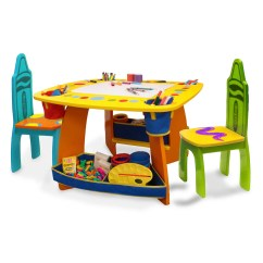 Kids Wooden Table And Chair Set Cover Rentals Wisconsin Grow N Up Crayola Walmart Com
