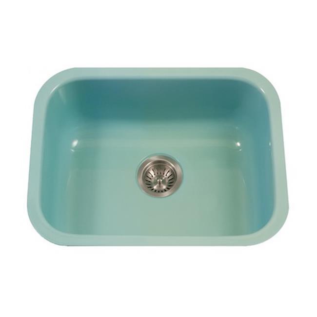 undermount single bowl kitchen sink country rugs houzer pcs 2500 mt porcela series porcelain enamel steel mint