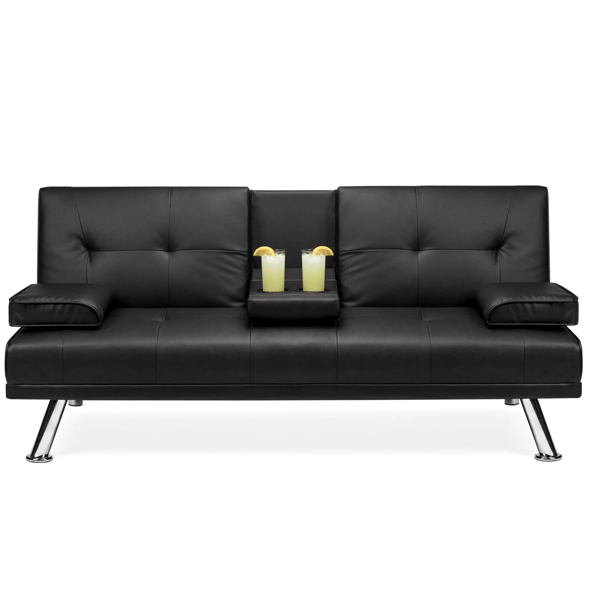 best choice products modern faux leather convertible futon sofa w removable armrests metal legs 2 cupholders black