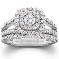 1 1/10ct Cushion Halo Solitaire Diamond Engagement Wedding ...