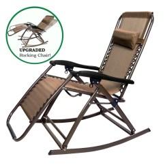 Zero Gravity Outdoor Chairs Big Bean Bag Canada Loadstone Studio Infinity Rocking Chair Lounge Patio Folding Reclining Brown Wmls2372