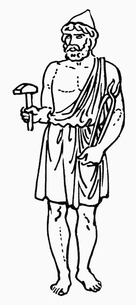 Hephaestus/Vulcan. /Ngreek And Roman God Of Fire. Line