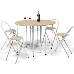 Folding Chair Kitchen Metal Stacking Chairs Outdoor Costway 5pc Foldable Dining Set Table And 4 Breakfast Furniture Walmart Com