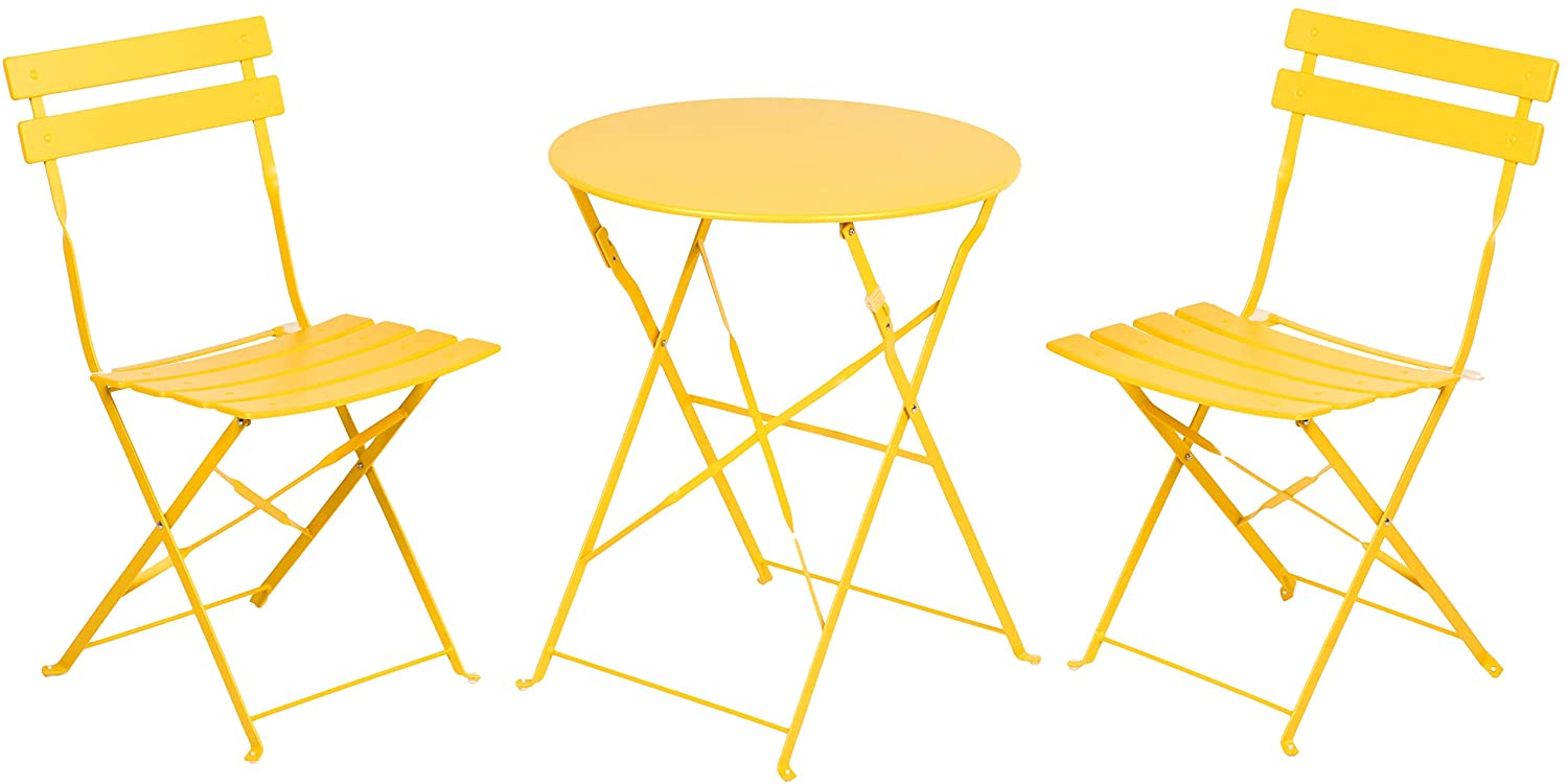 grand patio premium steel patio bistro set folding outdoor patio furniture sets 3 piece patio set of foldable patio table and chairs yellow