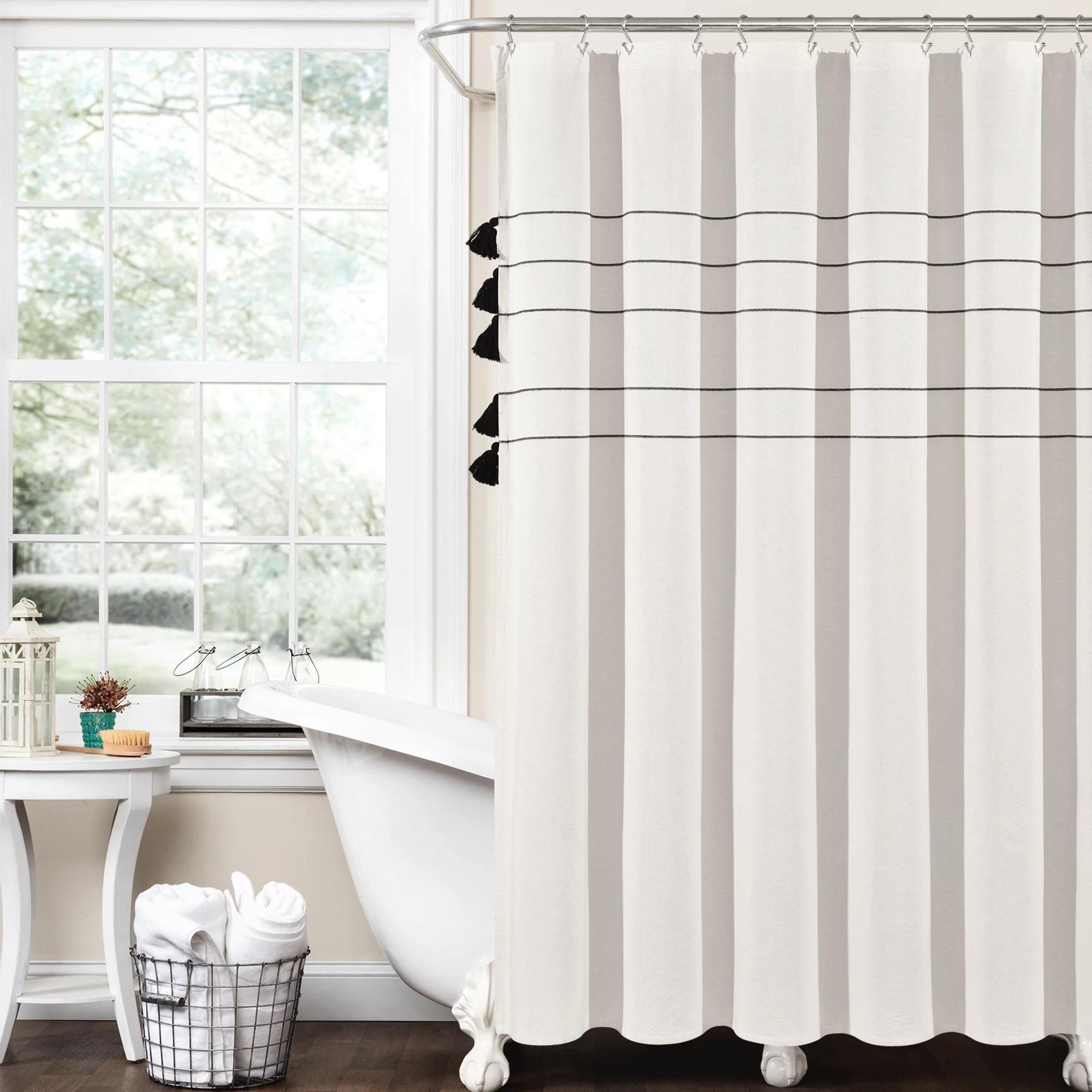lush decor farmhouse boho stripe woven tassel yarn dyed eco friendly recycled cotton shower curtain ivory black 72 x 72 single walmart com
