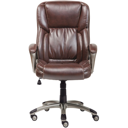serta office chair 10 year warranty wedding covers hire cheshire executive bonded leather biscuit brown walmart com