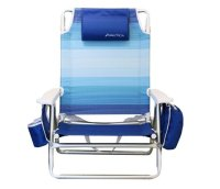 Nautica Recliner Folding Beach Chair w/Side Cooler Pouch ...