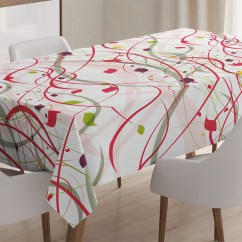 Modern Art Chair Covers And Linens Game Fishing Designs Home Decor Tablecloth Bizarre Curl Lines Like Tree Branches With Leaves Spring Summer Theme Rectangular Table Cover For Dining Room Kitchen