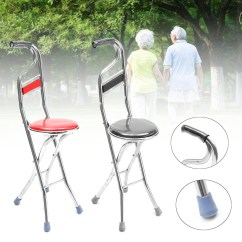 Walking Cane Chair Flat Pads 2 In 1 Adjustable Stainless Stick Elderly Care Portable Folding Travel With Seat Stool Walmart Com