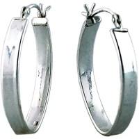 Silver Oval Flat Hoop Earring - Walmart.com