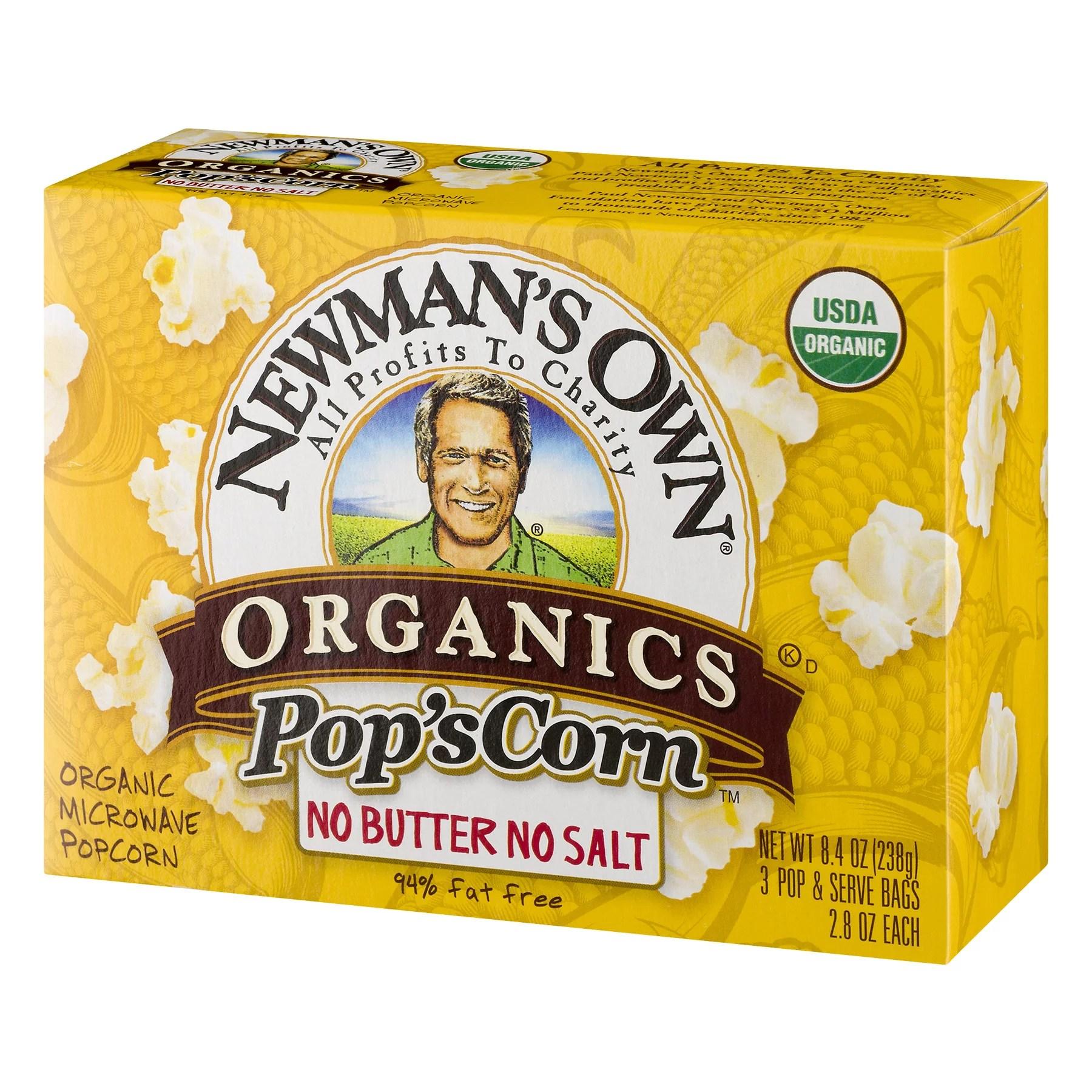 newman s own pop s corn organic microwave popcorn unsalted 2 8 oz 3 ct