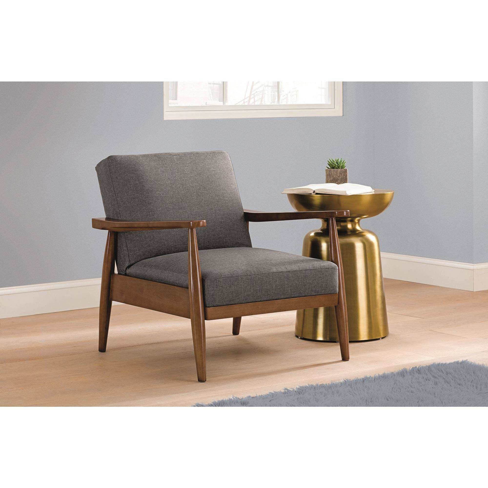 upholstered chairs with wooden arms cheap computer better homes gardens flynn mid century chair wood linen upholstery walmart com