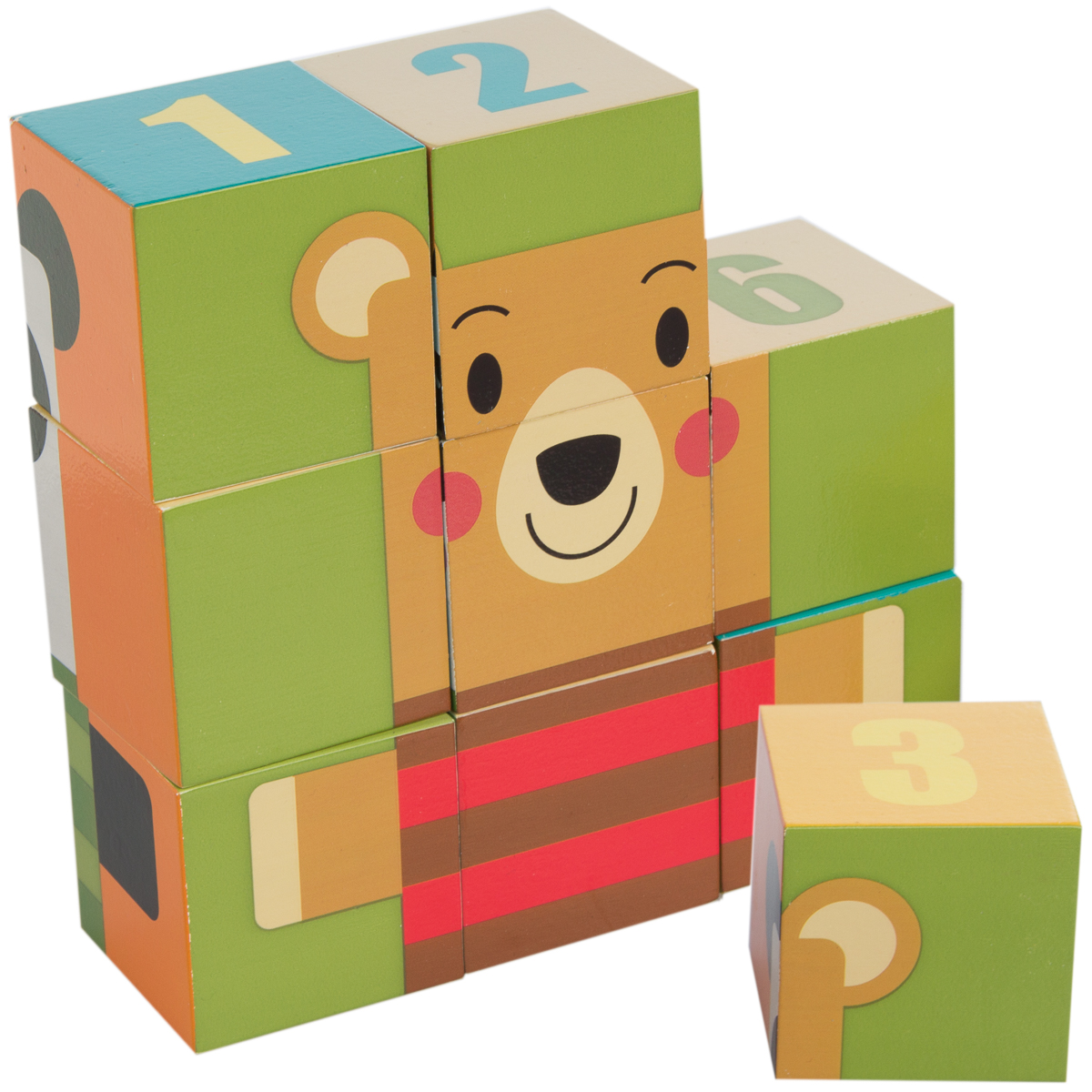 Demdaco 9 Piece Wooden Puzzle Blocks Set For Toddlers