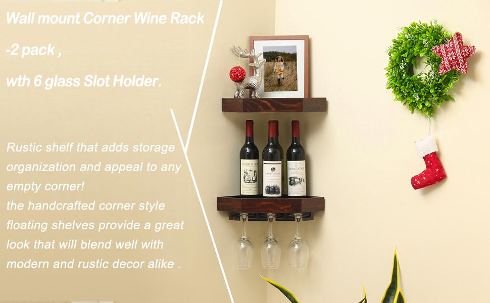 welland rustic wood corner floating shelves wall mount corner wine rack 2 pack with 6 glass slot holder
