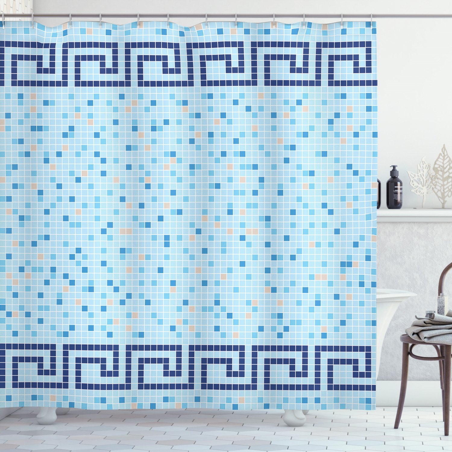 aqua shower curtain antique greek border mosaic tile squares abstract swimming pool design fabric bathroom set with hooks 69w x 84l inches extra