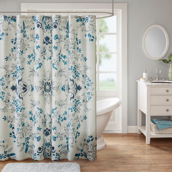 Home Essence Maeve 100 Cotton Printed Shower Curtain