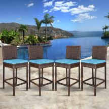 Zeny Set Of 4 Wicker Rattan Barstool Weather Dining