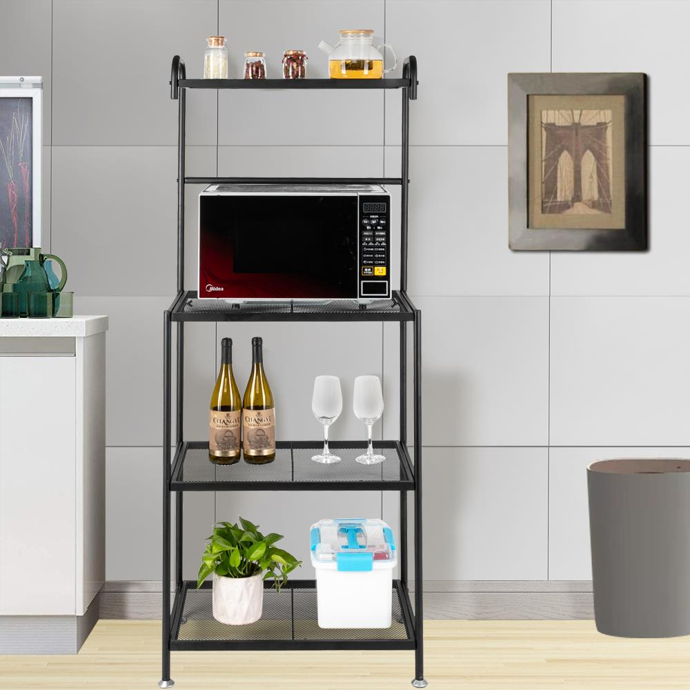 zimtown 4 tier kitchen baker s rack microwave oven stand storage rack black