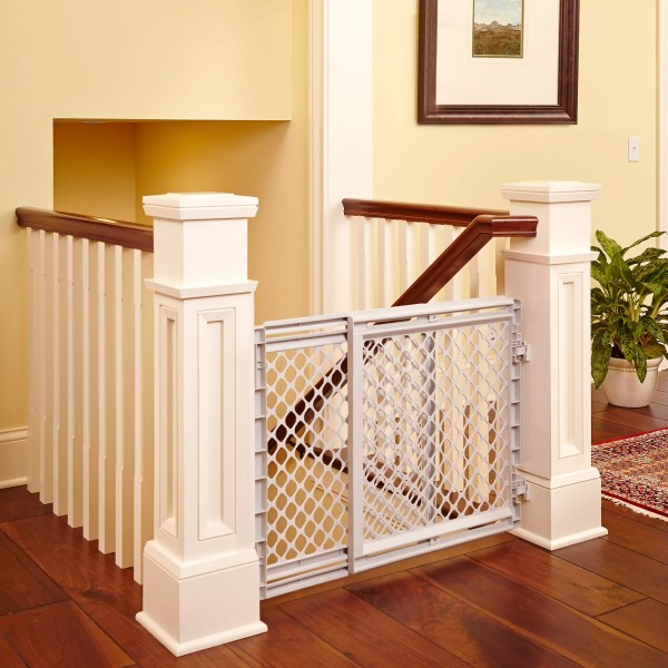 Baby Safety Gate Plastic Stairway Infant Gray Heavy Duty Security