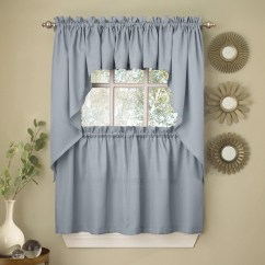 Swag Curtains For Kitchen Work Table With Drawers Light Blue Opaque Solid Ribcord Choice Of Tier Valance Or Walmart Com