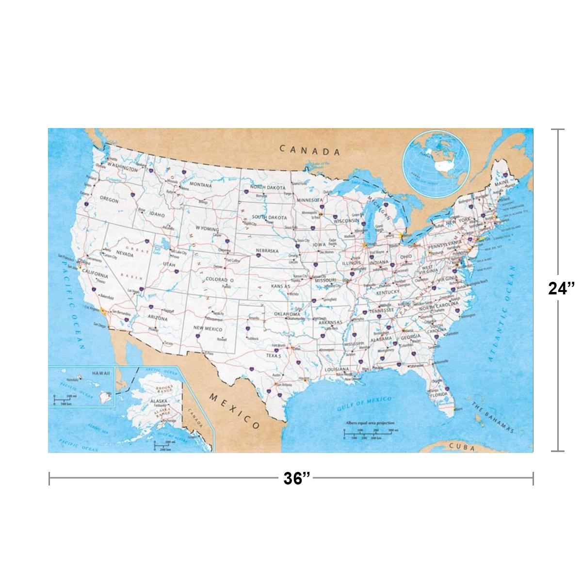 A new atlas gives a sense of what's truly happening in america. Map Of United States Usa Roads Highways Interstate System Travel Decorative Classroom Cool Wall Decor Art Print Poster 36x24 Walmart Com