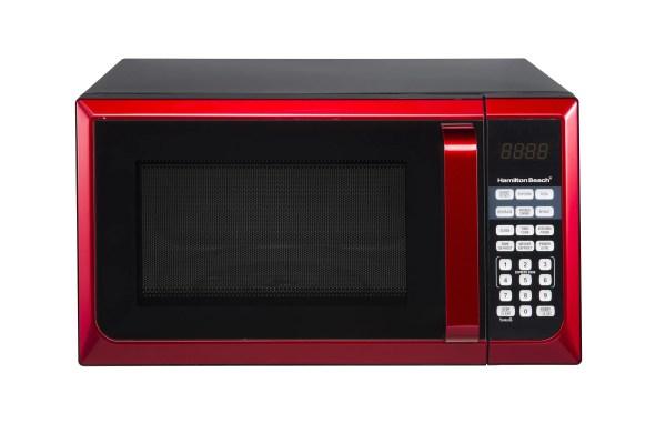 Watt Microwave Oven Countertop Kitchen Red Stainless Steel Digital 0.9 Cu Ft 600184634987