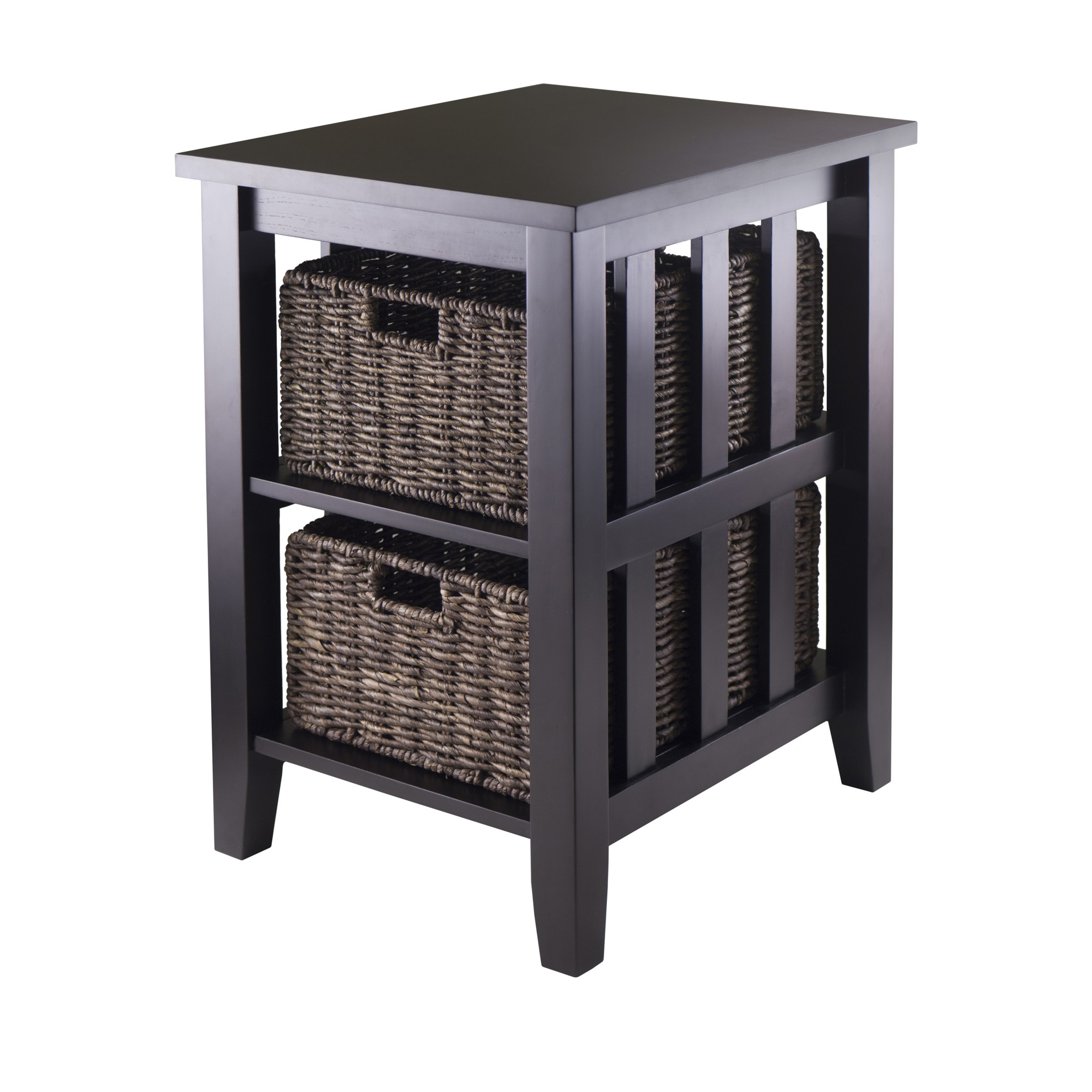 winsome wood morris accent table with 2 storage baskets espresso finish