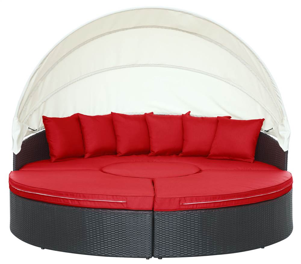 Modway Quest Patio Canopy Daybed in Espresso and Red