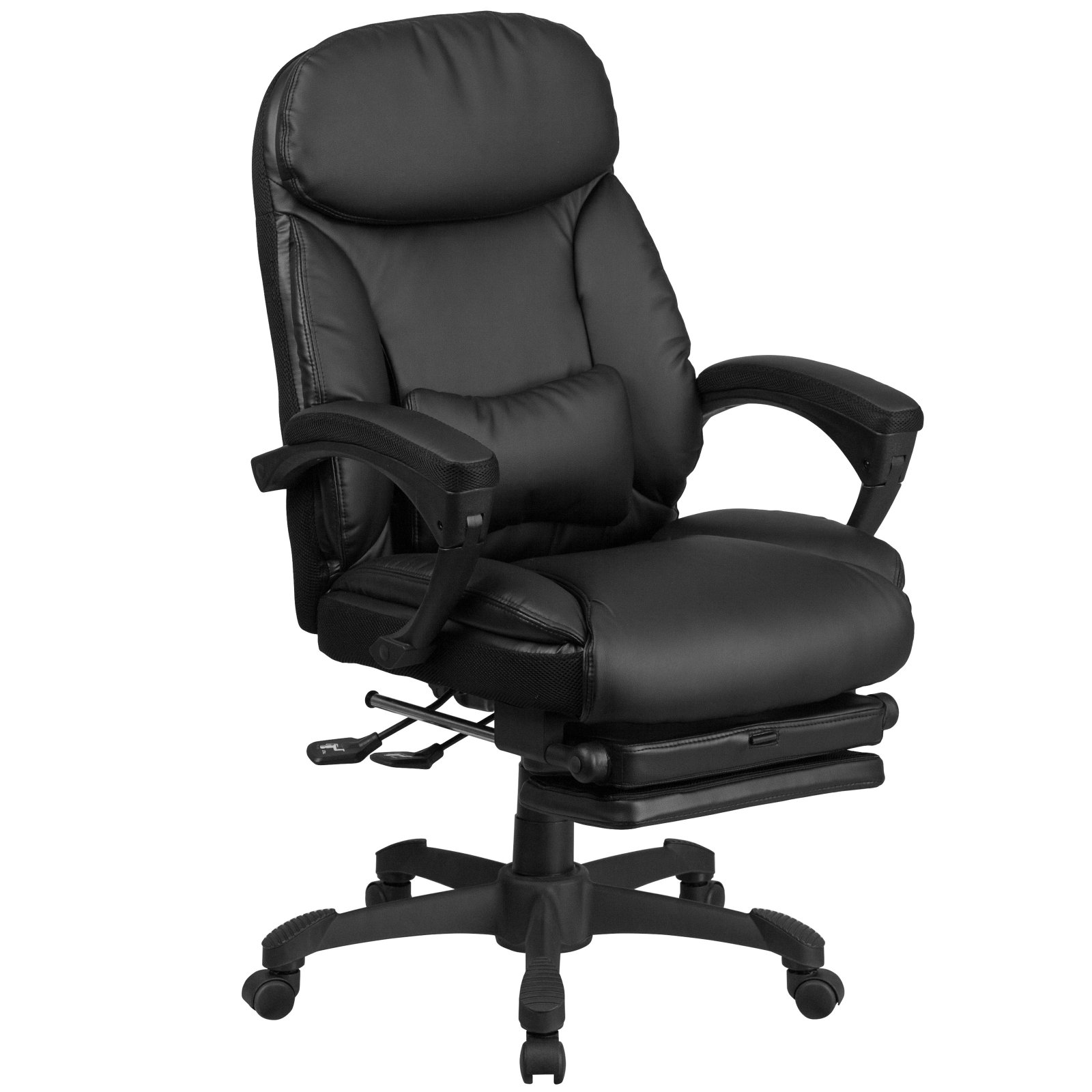 walmart leather office chair Flash Furniture High Back Black Leather Executive Reclining Swivel Office Chair with Comfort