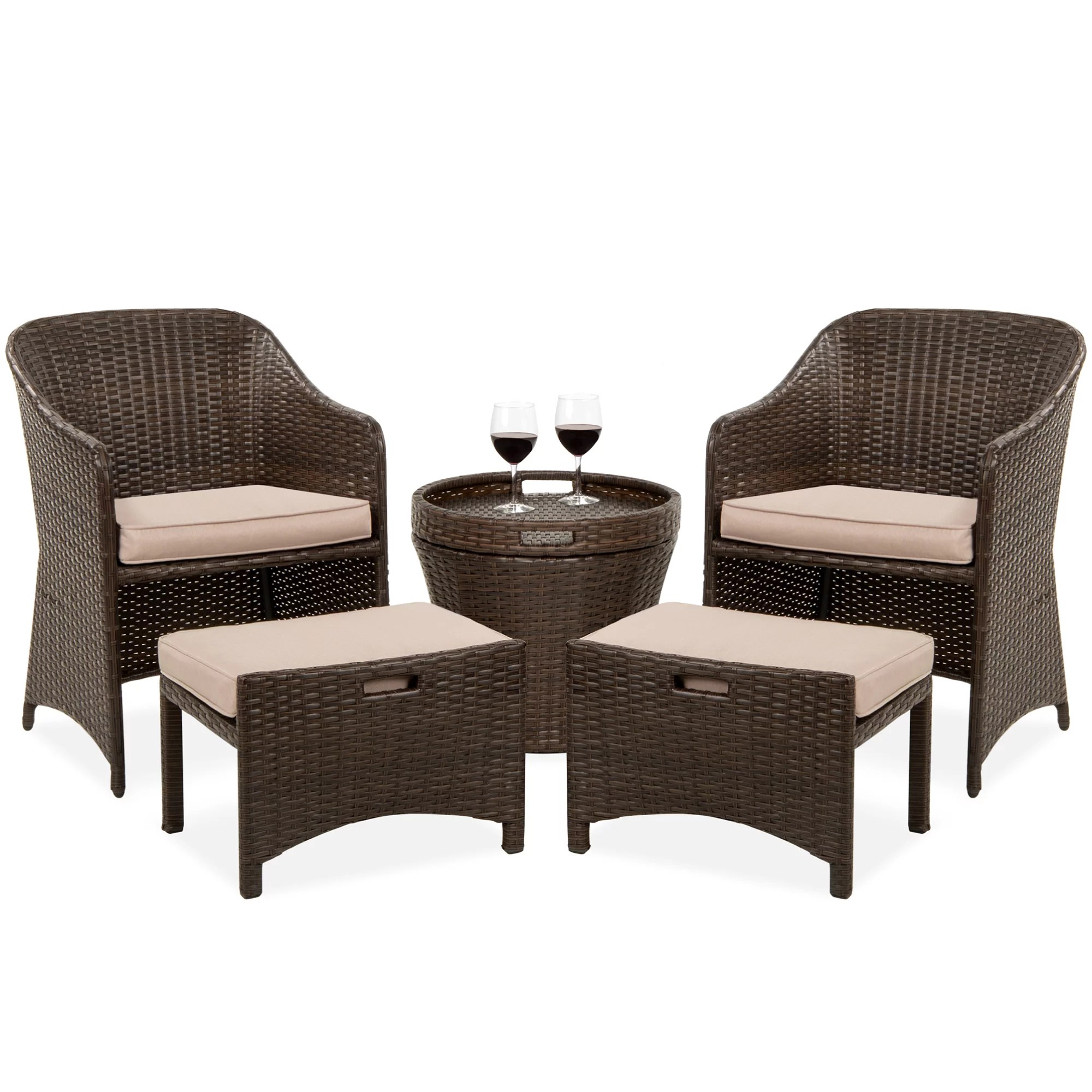 best choice products 5 piece outdoor wicker patio bistro space saving furniture set w storage table no assembly brown walmart com