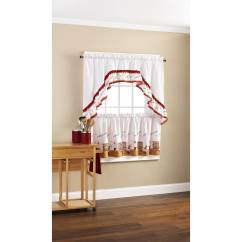 Cafe Kitchen Curtains Antique Metal Cabinet Fat Chef Bistro Set Tiers Swag Valance Details