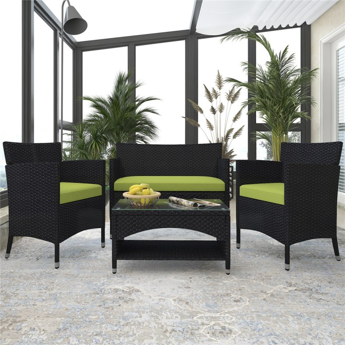 Patio Furniture Sets Clearance 4 Piece Wicker Patio Set With Glass Dining Table Loveseat Cushioned Wicker Chairs Modern Rattan Outdoor Conversation Sets For Backyard Porch Garden L3121 Walmart Com Walmart Com