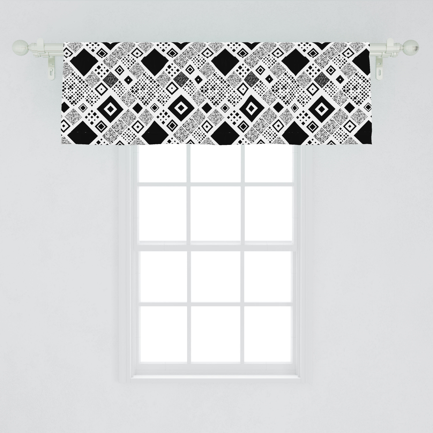 Black And White Window Valance Geometrical Diagonal Pattern With Various Different Squares Contemporary Curtain Valance For Kitchen Bedroom Decor With Rod Pocket By Ambesonne Walmart Com Walmart Com