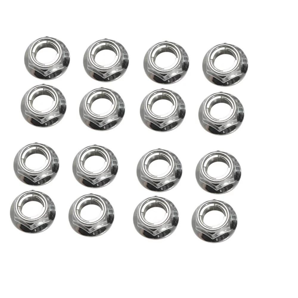 Flange Locking Lug Nut 10mm x 1.25mm Thread Pitch (16 pack