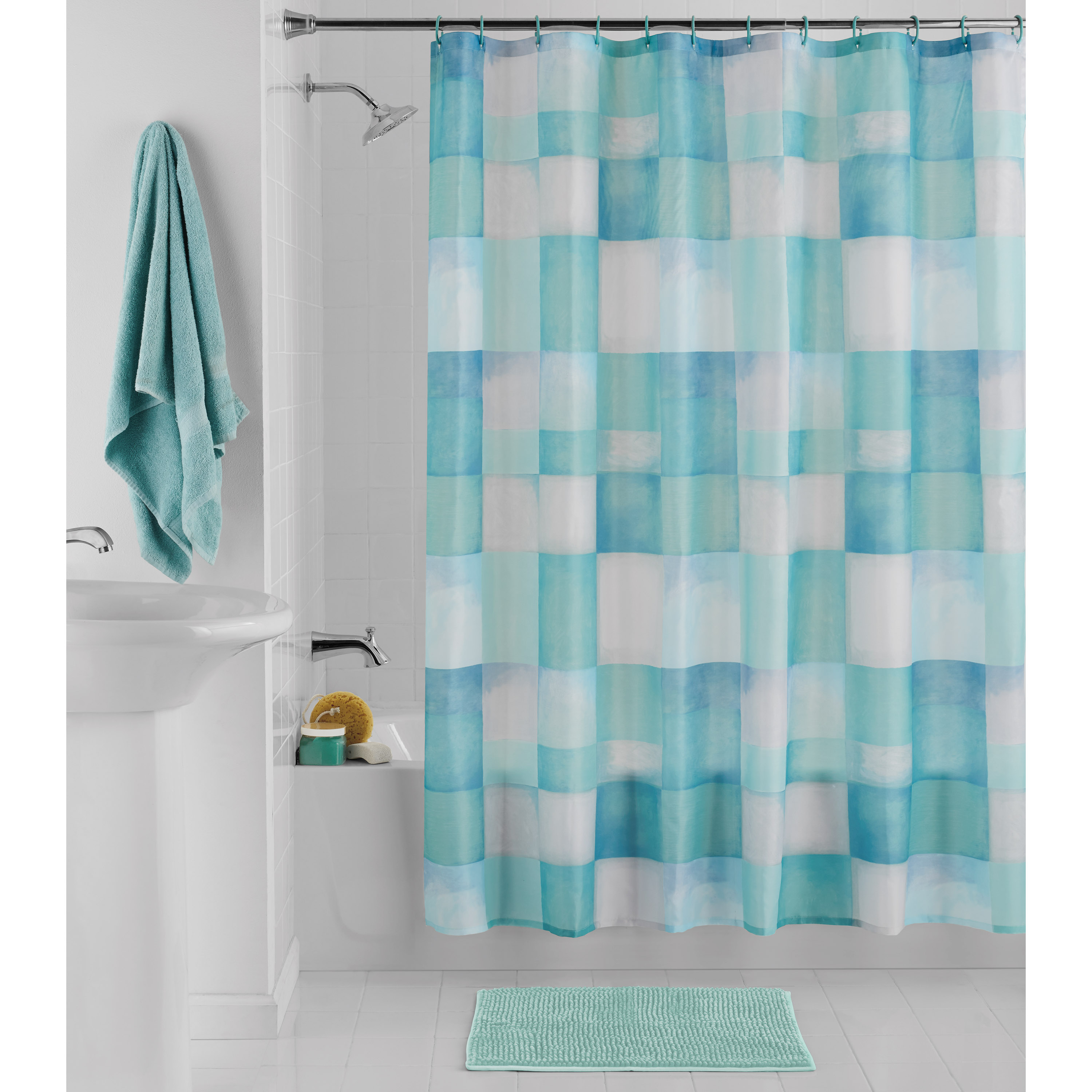 mainstays blue square 14pc set with printed fabric shower curtain 70 x 72 polyester rug 17 x 24 and 12 plastic hooks