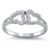 Sac Silver - Double Heart Friendship White CZ Promise Ring ...