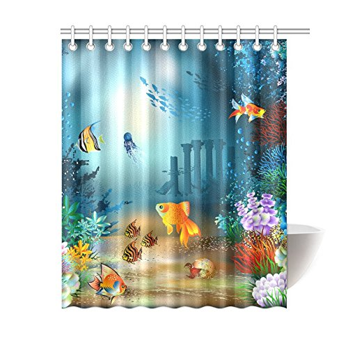 wopop underwater wold deep ocean shower curtain tropical sea animal fishes coral polyester fabric shower curtain bathroom sets with hooks 60x72