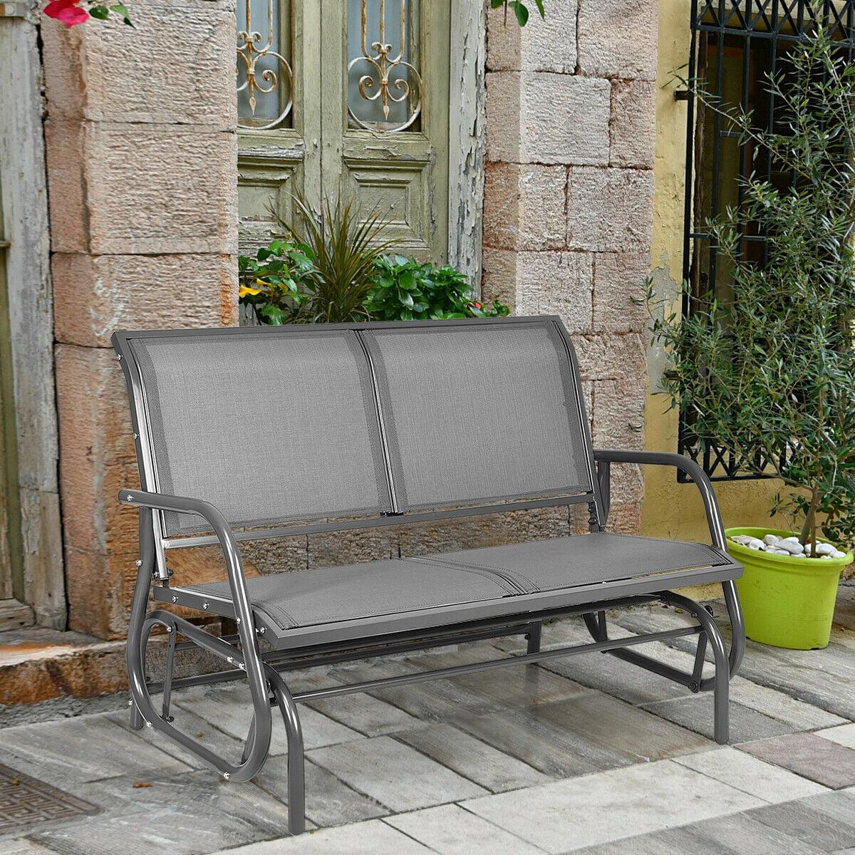 gymax 48 outdoor patio swing glider bench chair loveseat rocker lounge backyard grey walmart com
