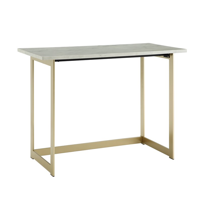 42 inch Faux Marble Desk with White Faux Marble Top and