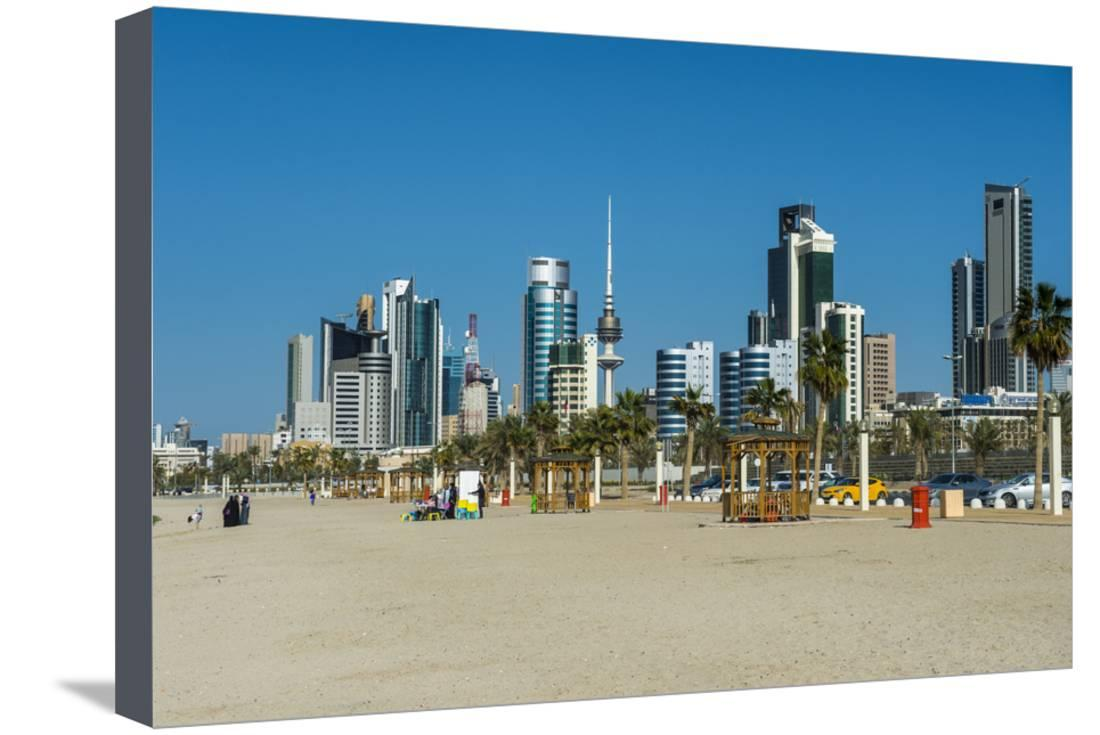 Shuwaikh Beach And Skyline Of Kuwait City Kuwait Middle