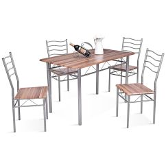 Kitchen Dining Set Sears Appliance Bundles Gymax 5 Piece Beech Wooden Color Table And 4 Chairs Room New