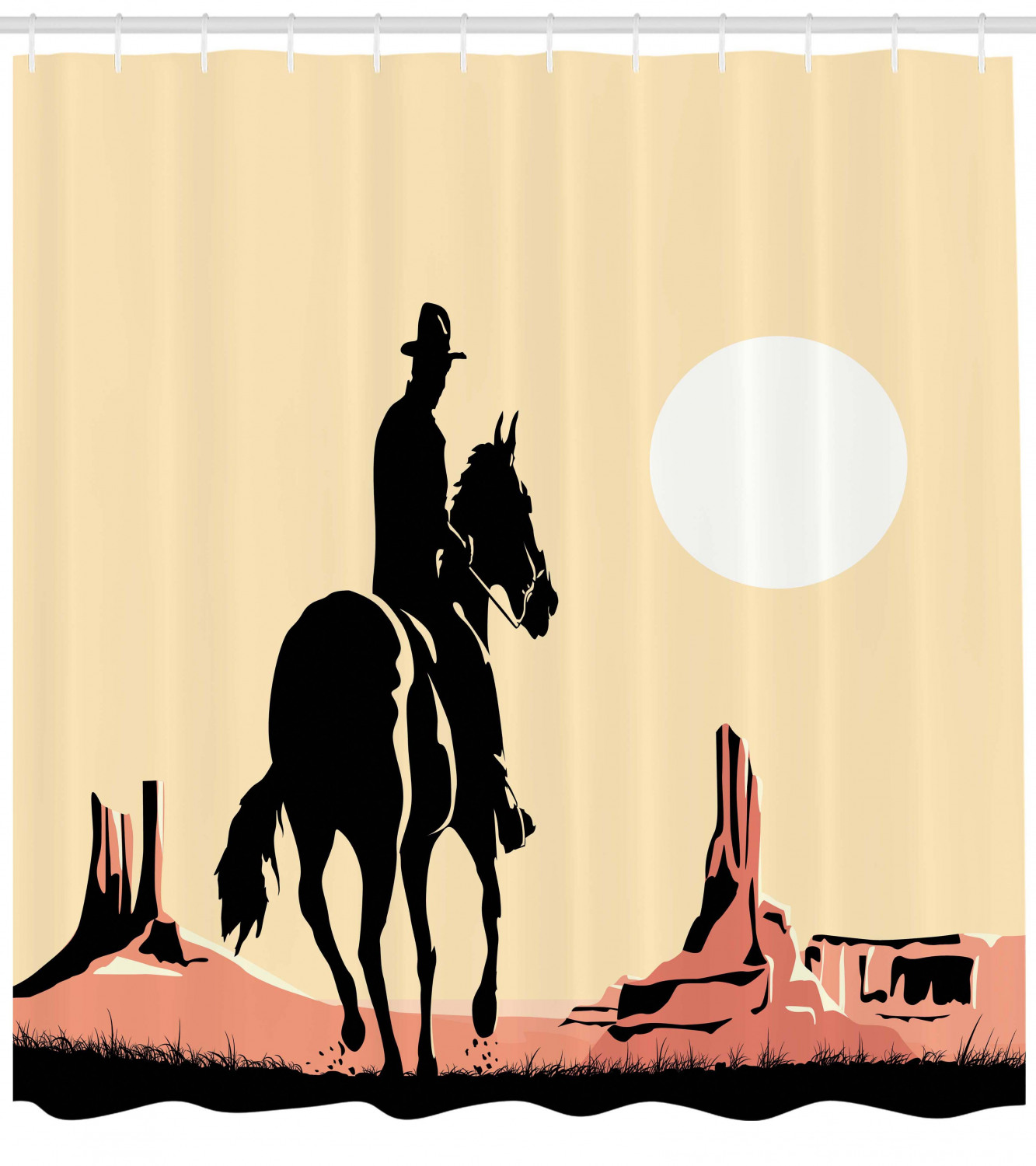 Bathroom Accessories 69w X 70l Inches Illustration Art Of Cowboy Riding Horse Towards Sunset In Wild West Desert Hero Yellow Orange Ambesonne Western Decor Shower Curtain Set Shower Curtain Sets Home