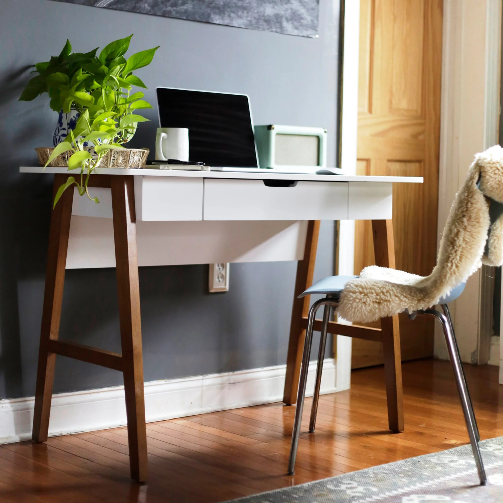nathan james telos home office computer desk with drawer white modern finish and light wood legs