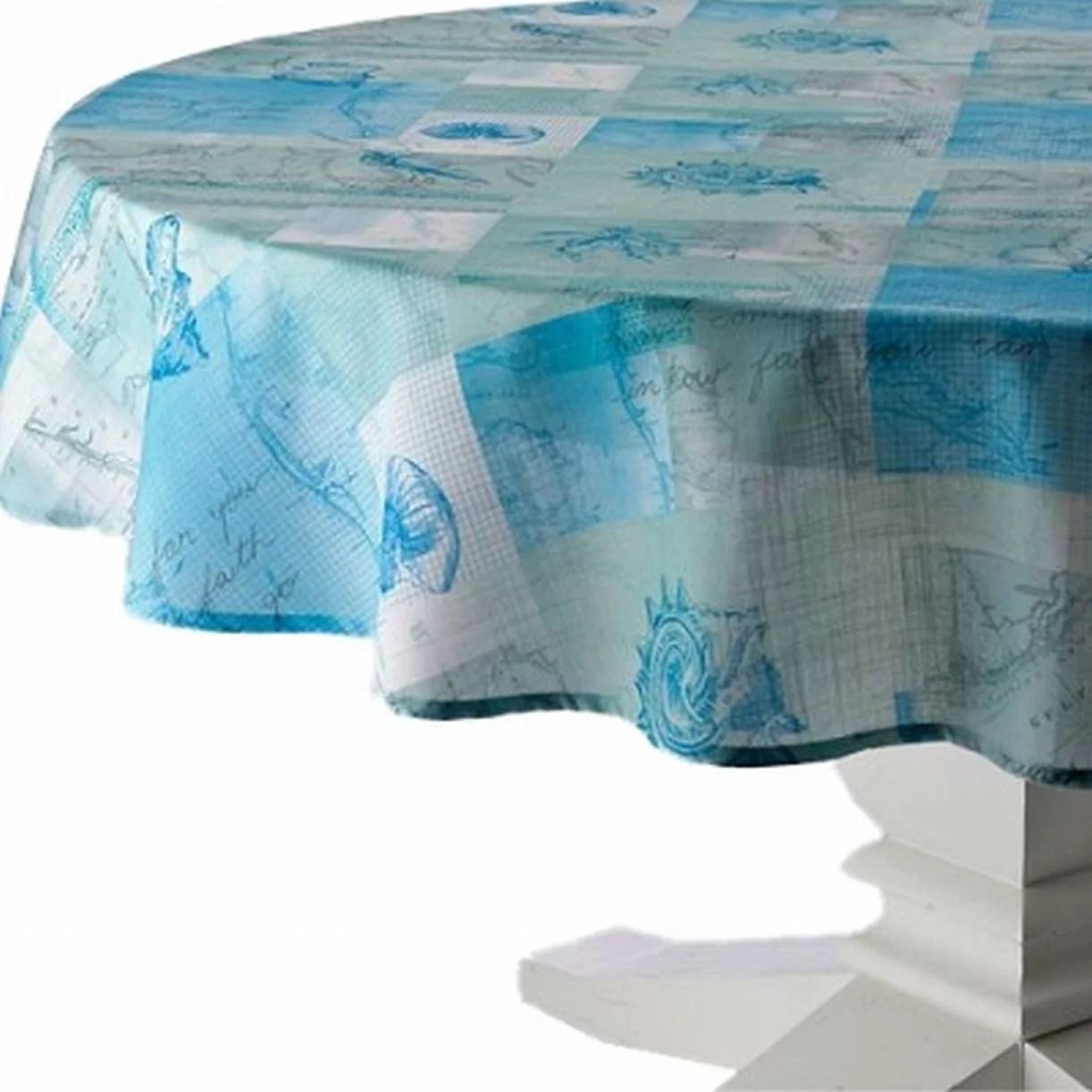 Shells Sentiments Tablecloth Blue Nautical Table Cloth