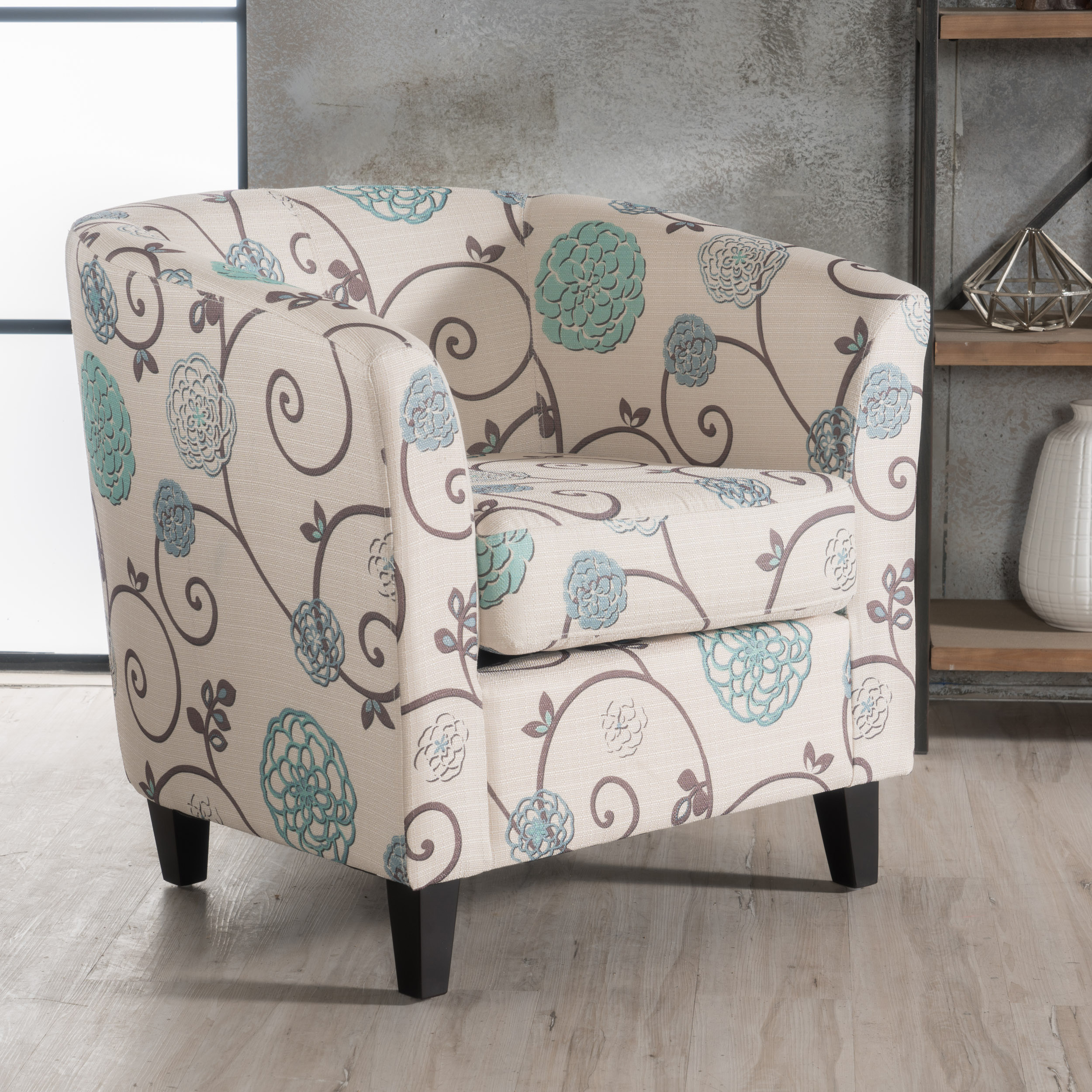 lounge chair walmart small rocking chairs noble house pierson floral fabric club accent chair, white and blue - walmart.com
