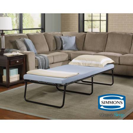 Simmons Beautysleep Folding Foldaway Extra Portable Guest Bed Cot With Memory Foam Mattress Multiple Sizes