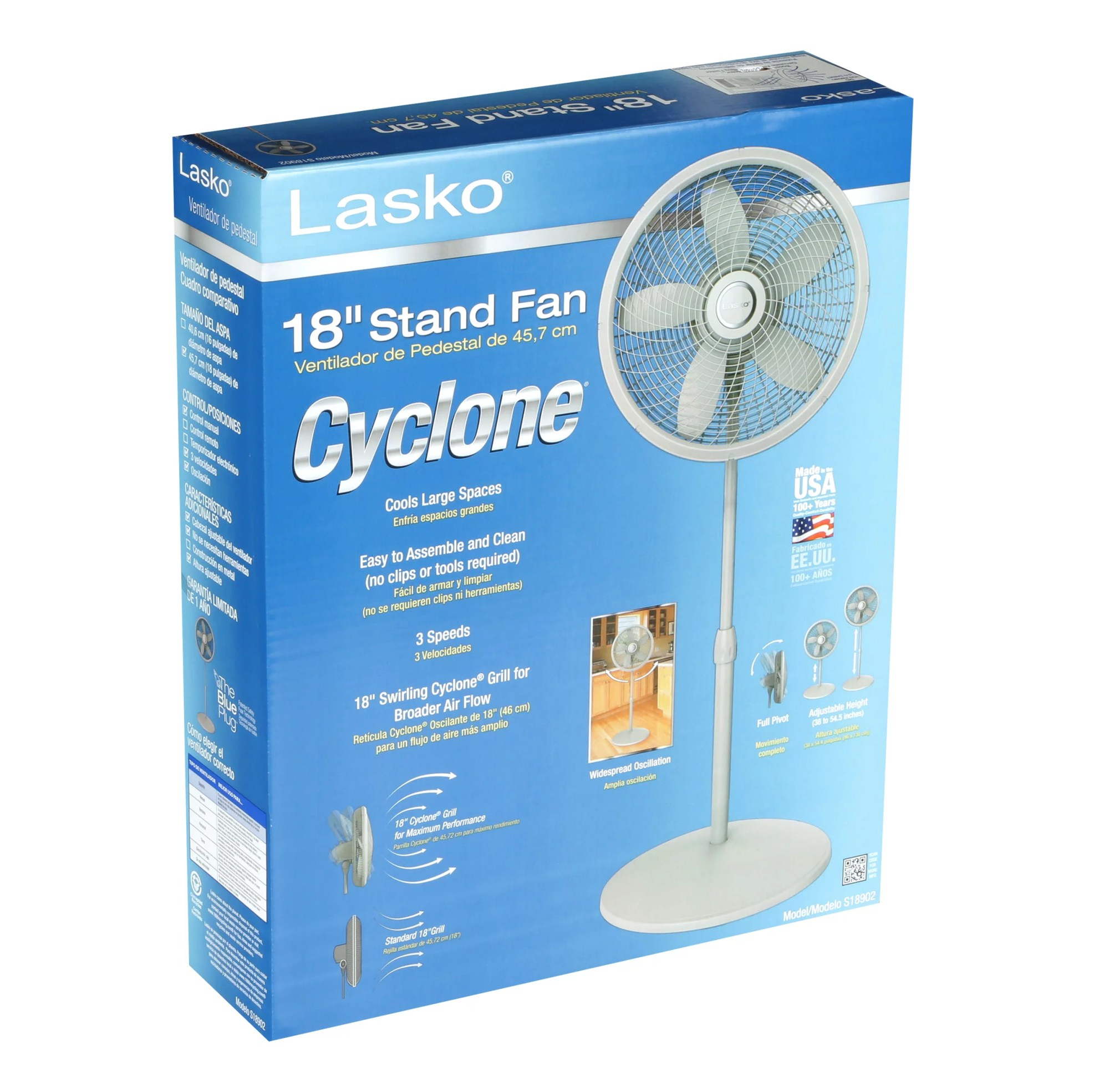 hight resolution of lasko 18 stand 3 speed fan with cyclone grill model s18902 white walmart com