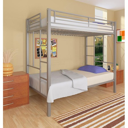 Dorel Your Zone Twin Over Metal Bunk Bed Silver