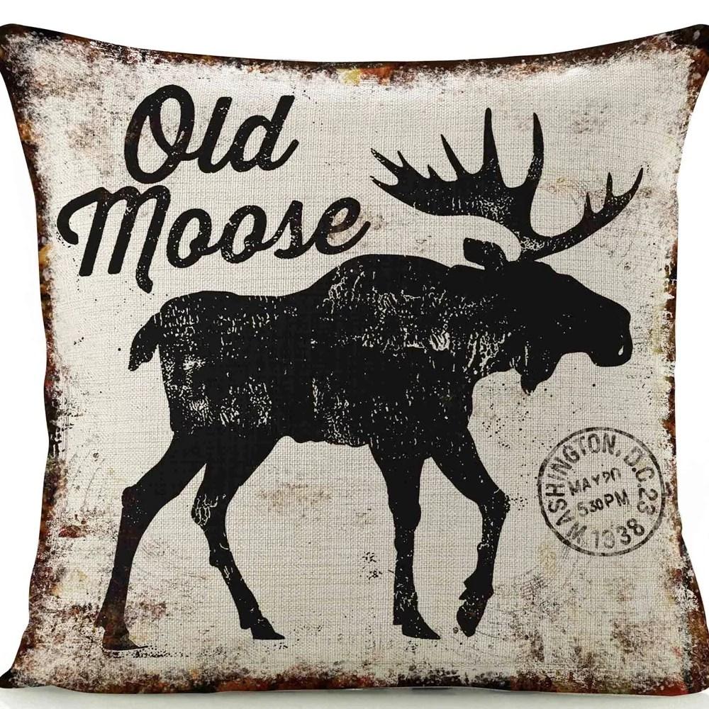 old moose linen throw pillow