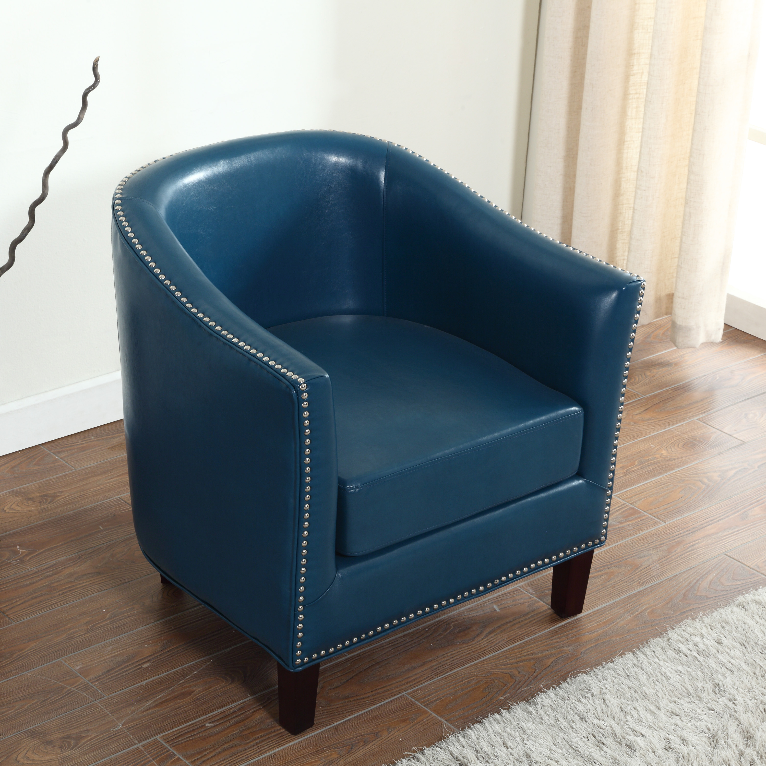 tub accent chair sciatic nerve cushion best master furniture s faux leather with nail heads multiple colors available walmart com